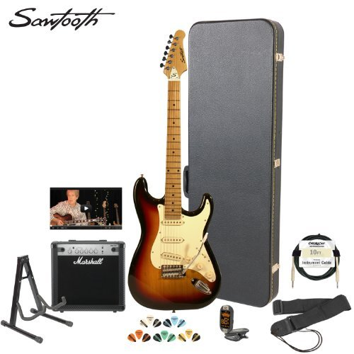 Sawtooth Sunburst Electric Guitar W/ Vintage White Pickguard - Includes: Accessories, Marshall Amp, Hard Case & Online Lesson