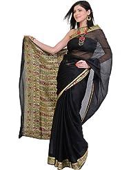 Exotic India Plain Banarasi Sari With Hand Woven Meenakari Border And Aanchal