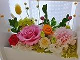 プリザーブドフラワ-ギフト    ケース入りホワイトフレーム、 結婚記念日、 退職祝い 両親贈呈花 新築祝い 還暦祝いの贈り物