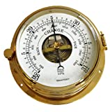 Trintec Polished Brass Barometer with French Movement Thick Glass Lens Front Access