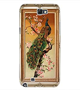 ColourCraft Lovely Peacock Frame Design Back Case Cover for SAMSUNG GALAXY NOTE 2 N7100