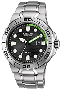 Citizen Watch Scuba Fin Men's Quartz Watch with Black Dial Analogue Display and Silver Stainless Steel Bracelet BN0090-52E