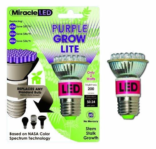Miracle Led 603050 Led Purple Grow Lite, Indoor Gardening Bulb Color: Purple Style: 2-Watt Outdoor/Garden/Yard Maintenance (Patio & Lawn Upkeep)
