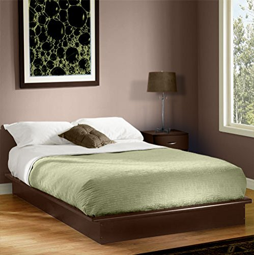 Queen Platform Bed With Molding, Chocolate, No Box Spring Required front-845688