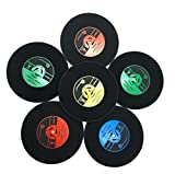 KAMIERFA 6er Set Retro Rund Schallplatten Silikon Untersetzer für Tisch