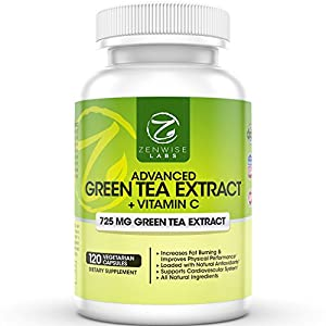 Green Tea Extract Supplement - Decaffeinated Vegetarian Pills for Weight Loss - Natural Fat Burner With Vitamin C - 725 mg Capsules - 120 VCaps - Regulates Cholesterol and Immune System