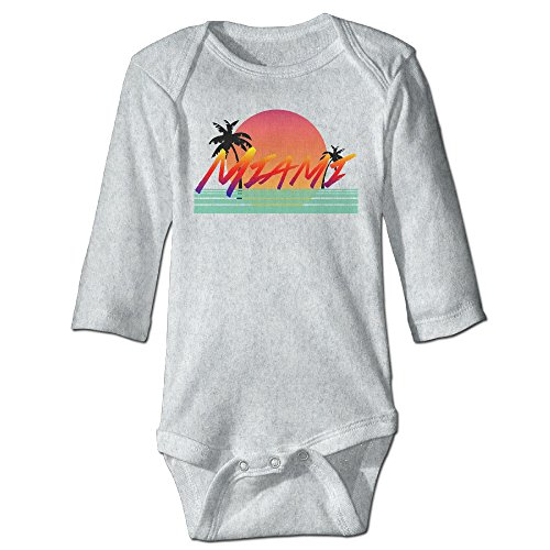 [Sunset Palm Miami Beach Long Sleeve Baby Romper Outfit 24 Months Ash] (Miami Vice Outfits)