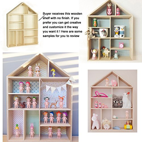 Napoli Wall Mount Or Free Standing House Shape Wooden Shadow Cubby Box Storage Knick Knack Shelf 9 Compartments Arts Collectibles Curio Display