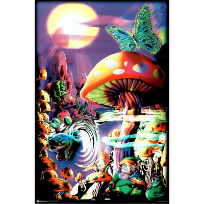 Generic Magic Valley Trippy Mushrooms Art Poster Print - 24x36 College Blacklight Poster Print, 23x35