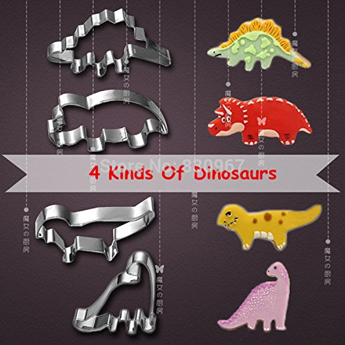 Saasiiyo 4 Pcs/Set 4 kinds of Dinosaur Shape Stainless Steel Cake Fruit Cookie Cutters Biscuit Sugar Mold DIY Cake Decoration 020141 (Spring Roll Wrapper Tray compare prices)