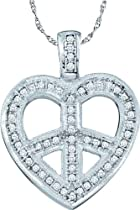 0.15ctw Diamond Heart Pendant 10K White Gold 56 Diamonds