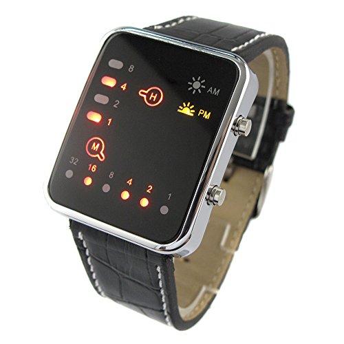 Youyoupifa Cool Fashion Binary Yellow & Red Led Date Digital Man Lady Leather Watch Black