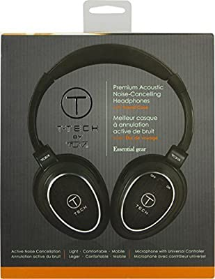 Active Noise Cancelling Over-Ear Headphones by T-Tech - Lightweight & Compact Headset with Premium Stereo Sound - Features In-Line Microphone & Detachable Cable - Includes Fitted Matching Case [Black]