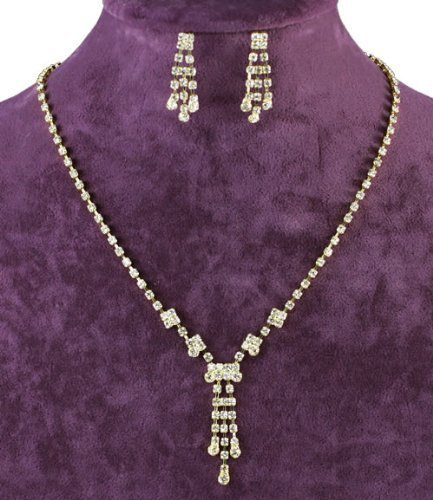 Fancy Gold Plated Delicate Jewellery Necklace Earrings Set with PreciousBags Dust Bag