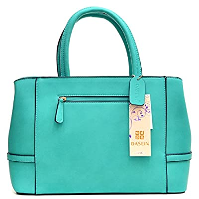Dasein Gold Tone Frame Faux Leather Tote with Shoulder Strap - Turquoise
