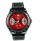 KTC Winner Mens Fashion Black Color Case Red Mechanical Dial Leather Strap Wrist Watch thumbnail