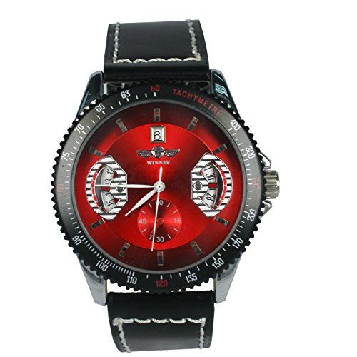 KTC Winner Mens Fashion Black Color Case Red Mechanical Dial Leather Strap Wrist Watch image