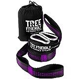 NEW ErgaLogik XXL Tree Friendly Suspension Hammock Straps - 20 Feet Total - 34 Loops (17 per Strap) - Heavy Duty - Camping Hammock Accessories, Hiking (Purple)