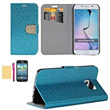 buy S5 Mini Case, Superior Pu Leather Wallet Case [Card Slots] Sparkle Bling Surface Fitted Shell Stand Folding Magnetic Cover Extreme Lightweight Slim Skin For Samsung Galaxy S5 Mini (Blue)