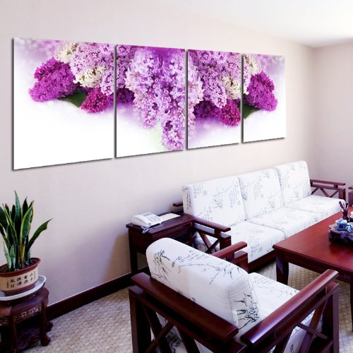 Huge Floral Purple Lavender Modern Home Wall Decor Canvas Art Hd Print Painting On Canvas Set Of 4 Each No Framed And Unstretched front-1008291