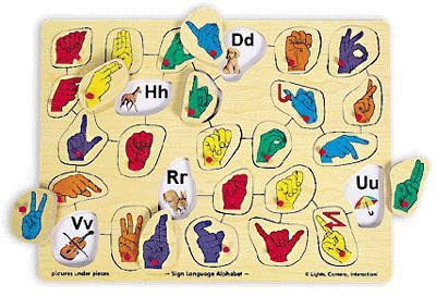 Picture of Fun Wooden Sign Language Puzzle (B0049V64FG) (Pegged Puzzles)
