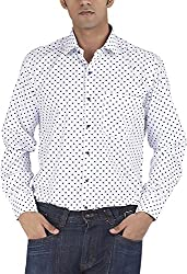 Silkina Men's Regular Fit Shirt (VPOINT924F, White Polka, 42)
