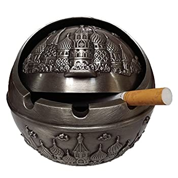 Honoro Vintage Cigarettes Ashtray with Lids,Windproof Metal Castle Cigar Ashtray for Home Office Tabletop Decoration,Gift Ashtray,Silver