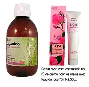 Aceite Rosa Mosqueta Sur Organico 100% Puro Organico Certificado 250ml (un cuarto litro) Producido en Patagonia, Envasado en España, Certificado Orgánico en UE 100% puro, primera prensada en frió, extra virgen. GRATIS crema de Rosas (grande). La marca