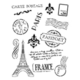 Passport to Paris Stencil by StudioR12 | French Travel Art Elements - Reusable Mylar Template | Painting, Chalk, Mixed Media | Use for Wall Art, DIY Home Decor - STCL366 … SELECT SIZE (11
