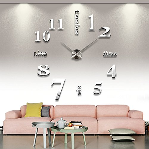 Asunflower® Frameless Large Wall Clock Style Watches Hours 3D Mirror Sticker Big Watch DIY Room Home Decorations