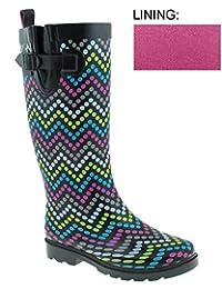 Capelli New York Ladies Tall Skinny Chevron Dots Print Rain Boot