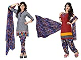 Grey Color Crepe Two Top Style Salwar Suit Unstitched Dress Materials