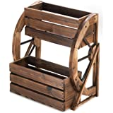 Fir Wood Wagon Wheel Double Tier Planter Plant Stand
