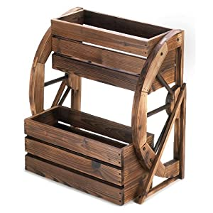 Fir Wood Wagon Wheel Double Tier Planter