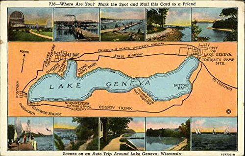 Map and Pictures of Lake Geneva, WI Lake Geneva, Wisconsin Original Vintage Postcard (Lake Maps Wi compare prices)