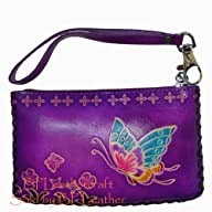 Real Leather Change Purse, Rectangle Shape, Butterfly Embossed, a Mini Wristlet Bag