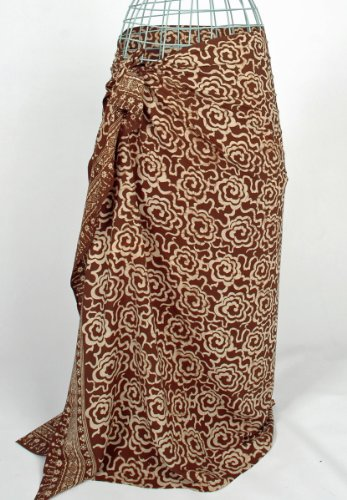 Brown on Cream Flower Power Batik Sarong