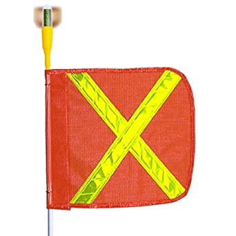 Flagstaff G5 Safety Flag with Reflective X and Flashing Light, Threaded Hex Base