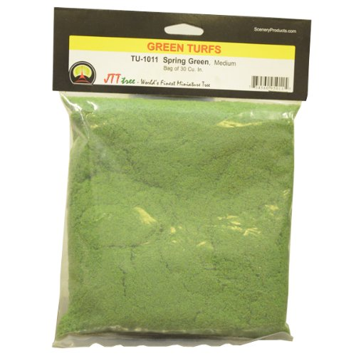 JTT Scenery Products Green Turf, Spring Green, Medium/30 Cubic Inch
