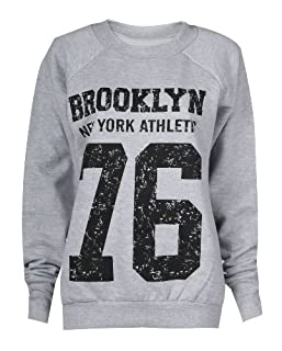 Forever Womens Dope Geek Brookleyn Boy Eagle Print Fleece Sweatshirt (ML-10/12, Brooklyn Grey)