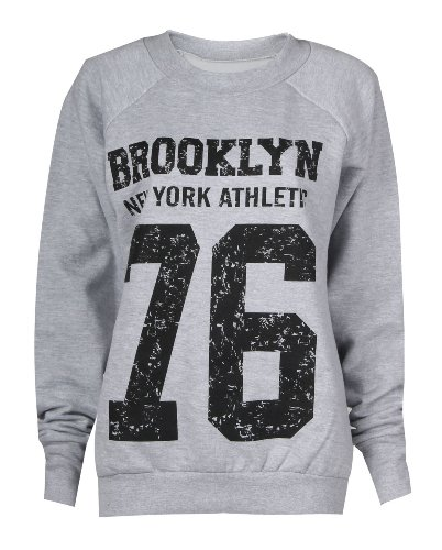 Forever Womens Brooklyn 76 Los Angeles And Work Out Print Fleece Sweatshirt Top