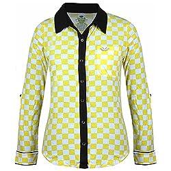 UV&W Women's Polo Print T-Shirt (LSS21_S, Yellow, S)