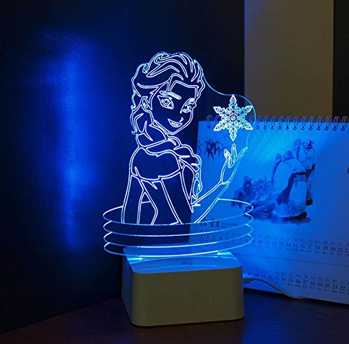 USB Novelty KIDS Pretty Doll Cute Girl Lovely 3D Lamp Besides Lights Elsa ANNA LED Nightlight Table Lampara with Touch Lamp Base