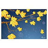 PICKYPOMP Leaves and Raindrops Wall Poster Art - Laminated Unframed 8x12 Inch