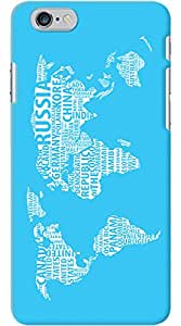 Kasemantra World Map In Cyan Case For Apple iPhone iPhone 6 Plus & 6s Plus
