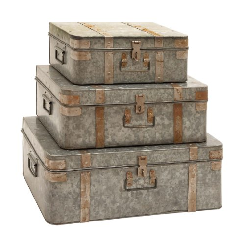 Plutus Brands Galvanized Metal Trunks with Mixed Style, Set of 3