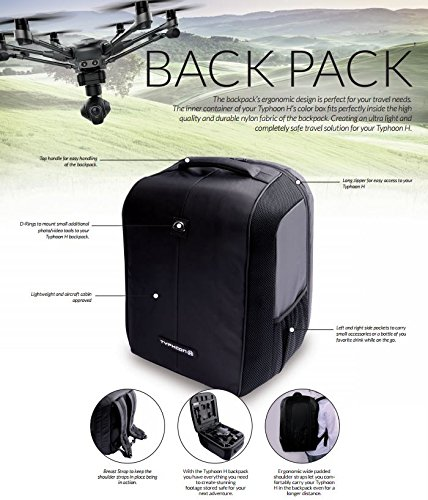 Yuneec YUNTYHBP001 Typhoon H Soft Backpack Expandable Bags, Black