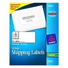 Avery 5352 Self-adhesive address labels for copiers, white, 2 x 4-1/4, 1000/box