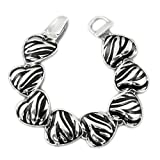 Silvertone Zebra Design Heart Magnetic Bracelet Fashion Jewelry