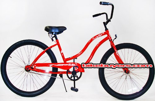 Micargi Touch, red, women's 1-speed Beach Cruiser Bike Schwinn Nirve Firmstrong Style